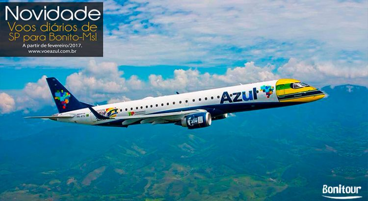 Voo da Azul de Campinas SP para Bonito MS tem aeroporto.