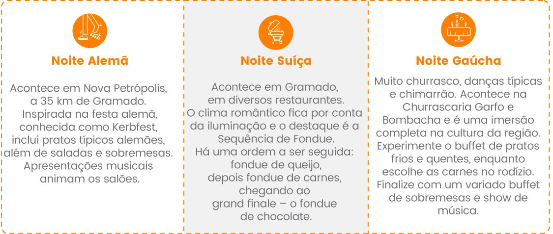 Noites temáticas Serra Gaúcha