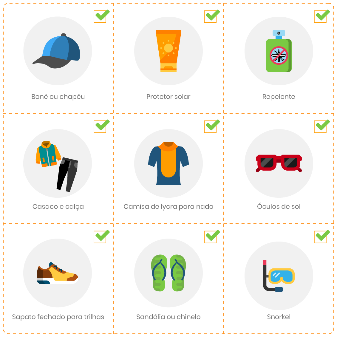 Ilustração-contendo-o-checklist-de-itens-essenciais-para-levar-a-Fernando-de-Noronha