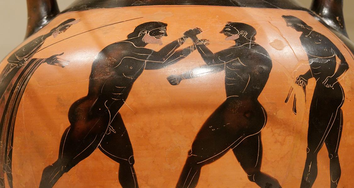 Pintura-em-um-vaso-grego-representando-o-boxe