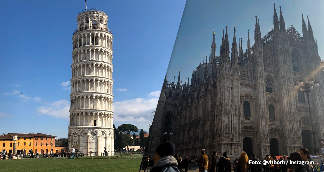 Torre de Pisa e Catedral de Milão, Itália