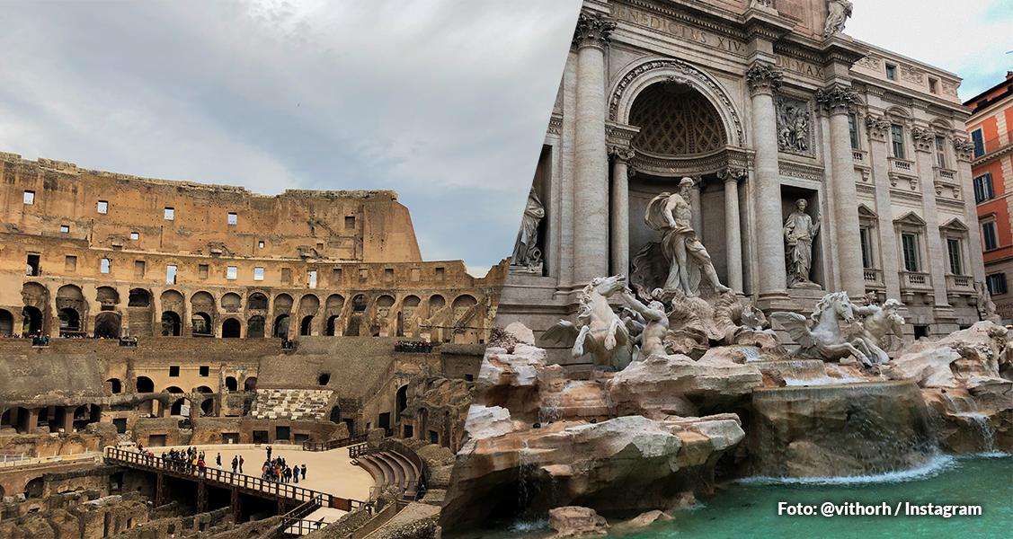 Coliseu e Fontana di Trevi em Roma, Itália
